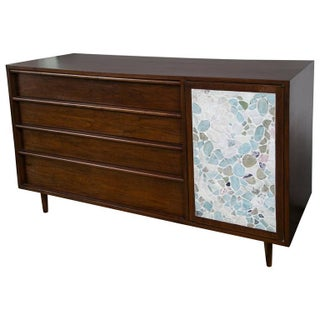 Harvey Probber Walnut Credenza with Stone Facade