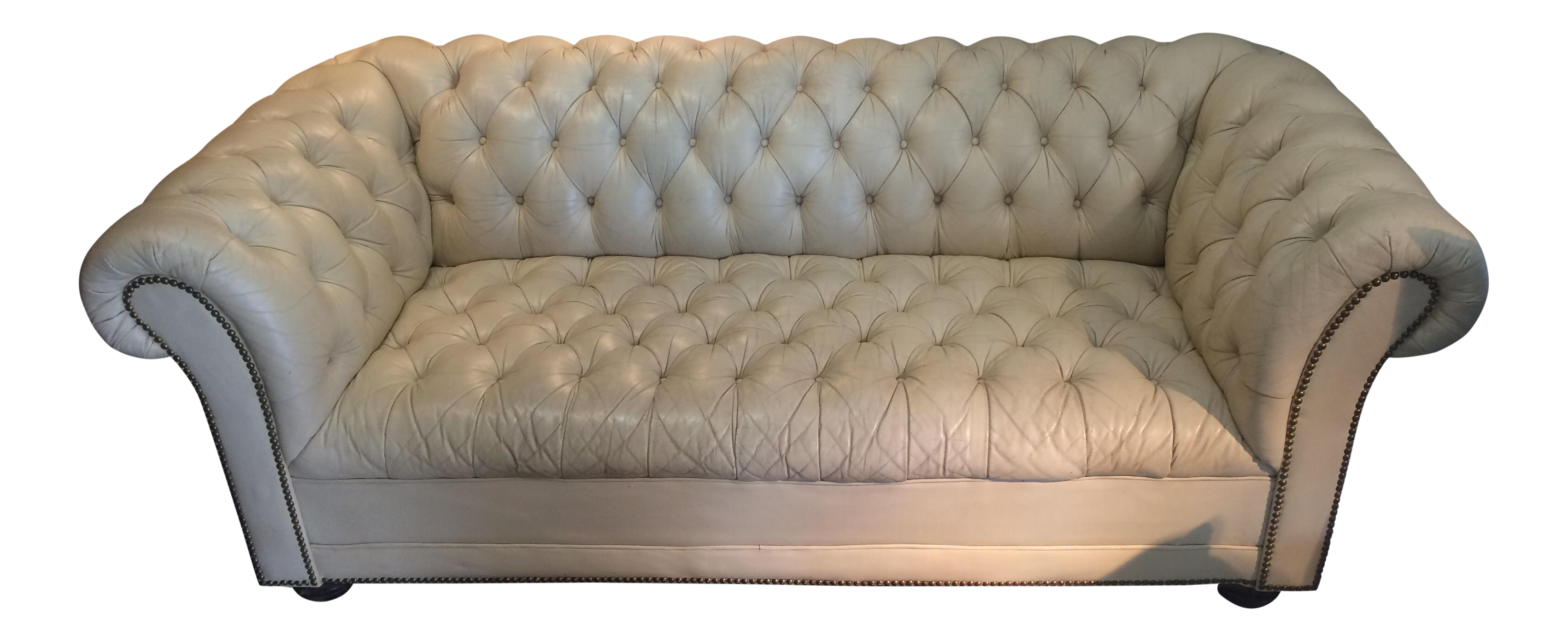 Vintage Cream Leather Chesterfield Sofa Chairish