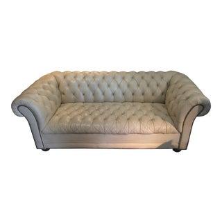 Vintage Cream Leather Chesterfield Sofa