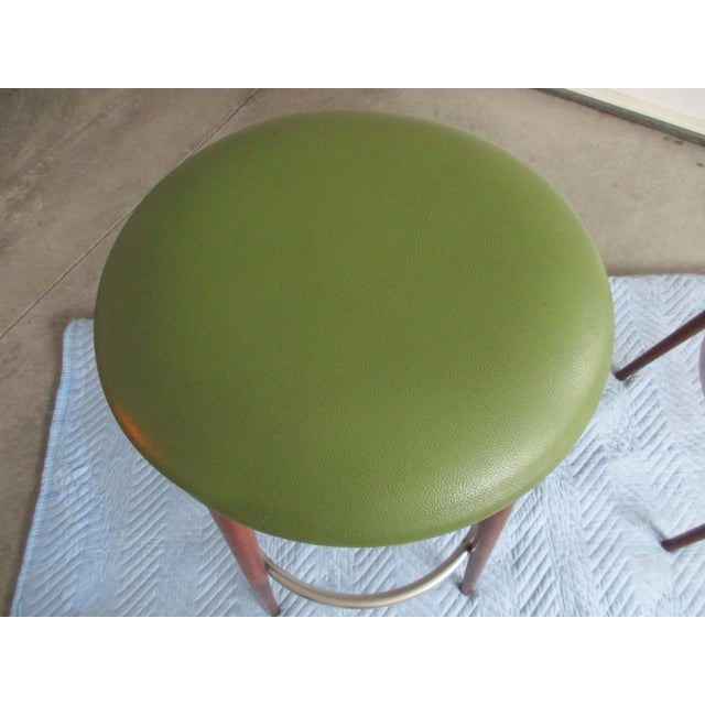 Danish Modern Floating Top Bar Stools - A Pair - Image 6 of 10