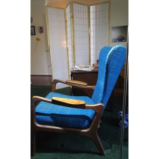 Mid-Century Modern Blue Wingback - Image 3 of 4