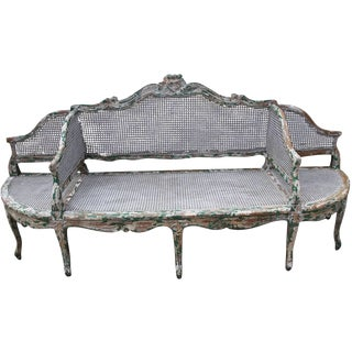 French 3-Section Cane Painted Sofa