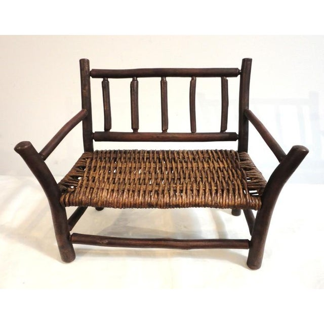 Salesman Sample Old Hickory Settee W/ Original Woven Seat - Image 2 of 6