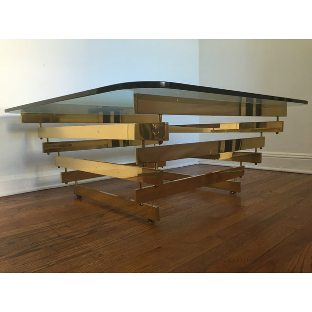Paul Mayan Attributed Brass Stacked Coffee Table - Image 2 of 9