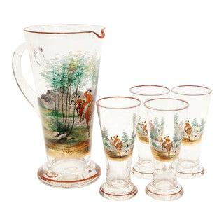 Vintage Pilsner Glasses & Pitcher - Set of 5