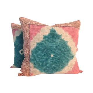 Vintage Block Printed Kantha Quilt Pillows
