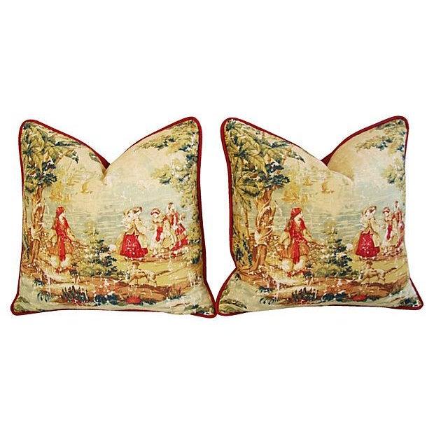 Image of Designer Renaissance Toile Linen Pillows - A Pair