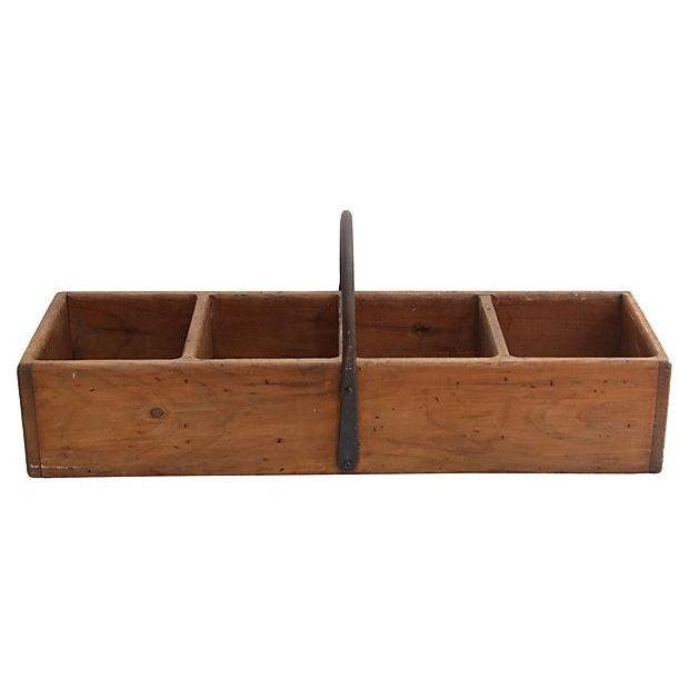 Image of Rustic Wood Basket W/ Iron Handle