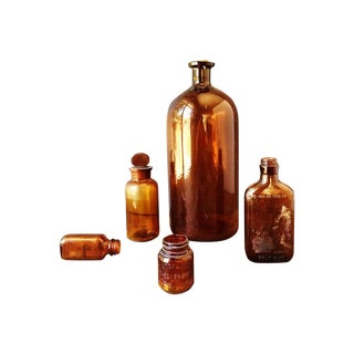 Amber Glass Bottle Collection- Set of 5
