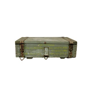 1950s Military Crate Wooden & Metal Ammo Box