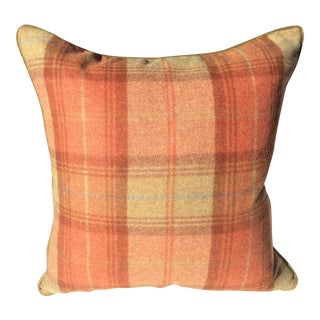 Zoffany Woodford Orange Plaid Wool & Down Pillow