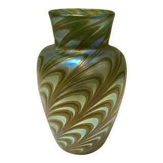 Peacock Blue Iridescent Art Glass Vase