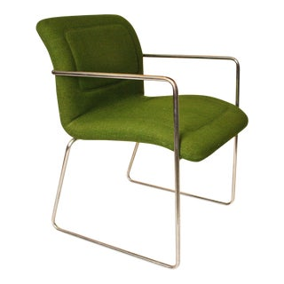 Mid-Century Modern Green & Chrome Side Chair