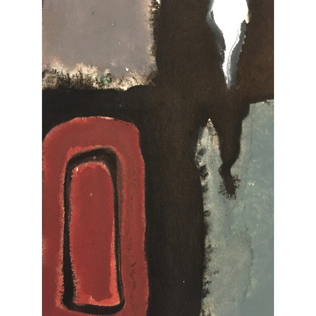 1940-1950's Mid Century Gouache Maroon Abstract - Image 4 of 4