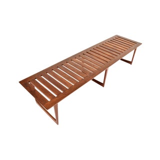 Mid Century Wegner/Lovig Style Teak Slat Bench Coffee Table