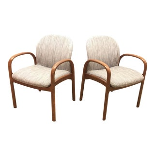 Mid-Century Gunlocke Walnut Chairs - A Pair