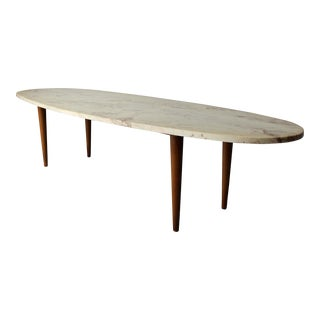 Mid-Century Surfboard Travertine Coffee Table
