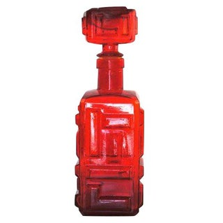 Geometric Red Glass Bottle