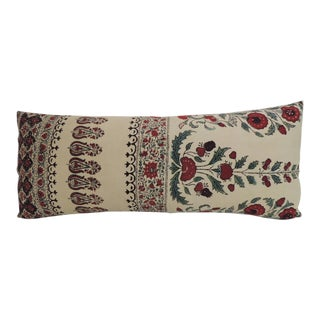 Hand-Blocked Indian Qalamkar Floral Decorative Bolster Pillow