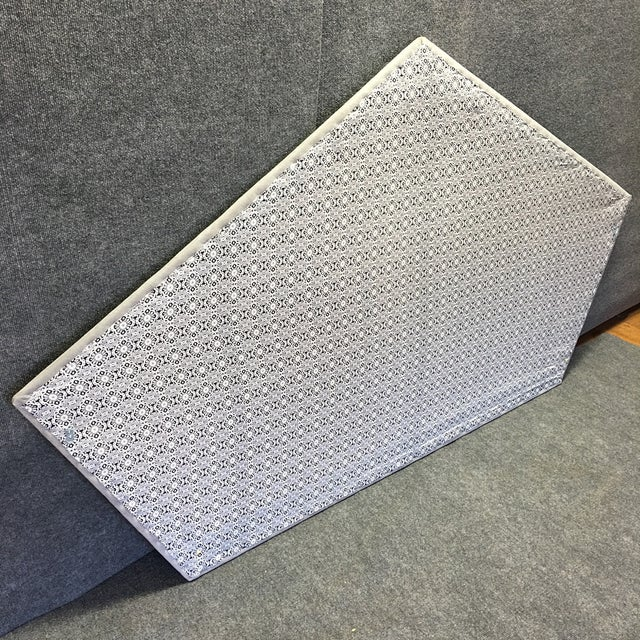 Image of Queen Grey Upholstered Headboard, Nailhead Trim