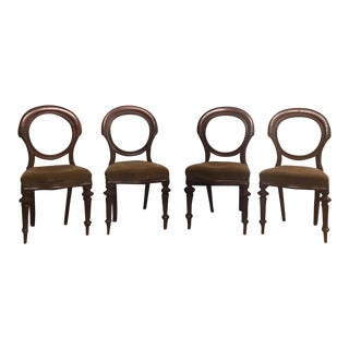 Antique Round Back Mahogany Nailhead Chairs - Set of 4