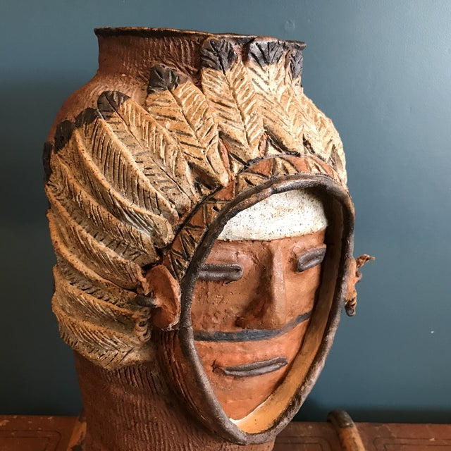Indian Head Ceramic Vase - Image 7 of 9