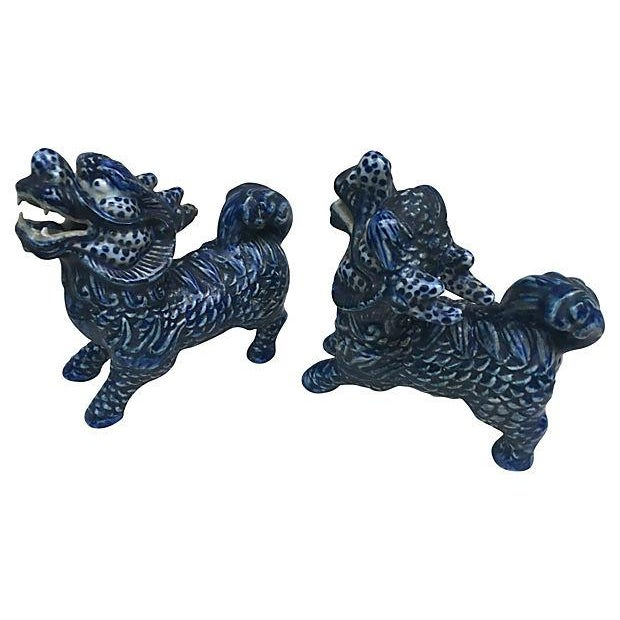 Blue & White Foo Dogs - A Pair - Image 2 of 5