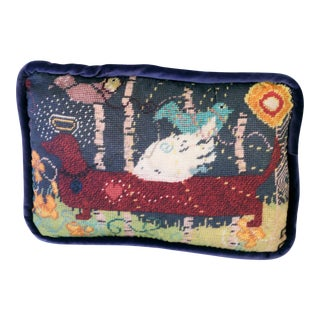 Printed Needlepoint Dachshund Pillow, Handcrafted
