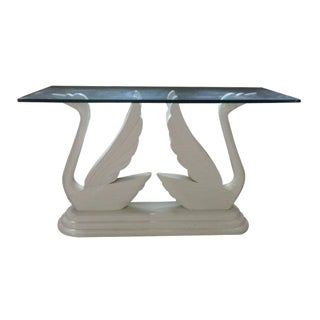 Vintage Double Swan Table Base & Glass Top