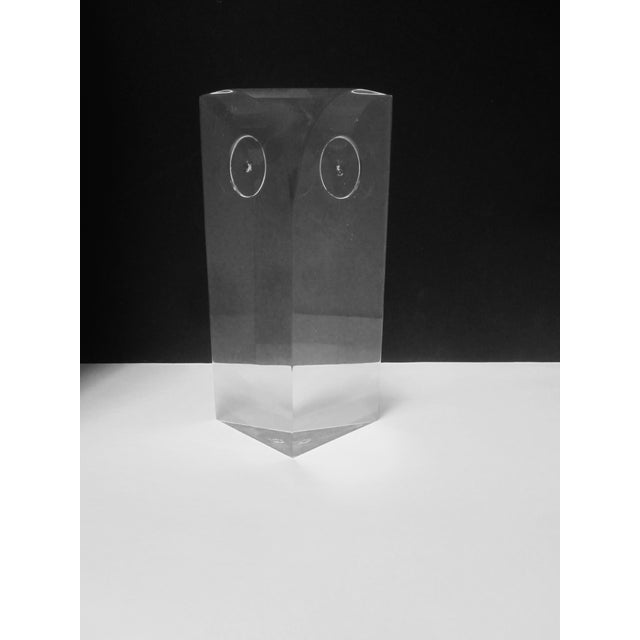 Image of Guzzini Attri. Modernist Lucite Owl Sculpture