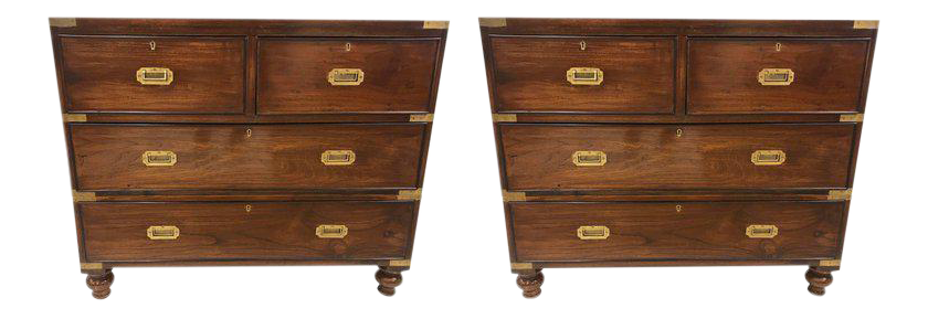Pair Of Antique Campaign Style Chest Of Drawers