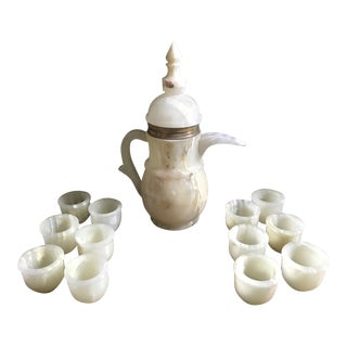 Vintage Pakistani Onyx Coffee or Tea Service- Set of 13