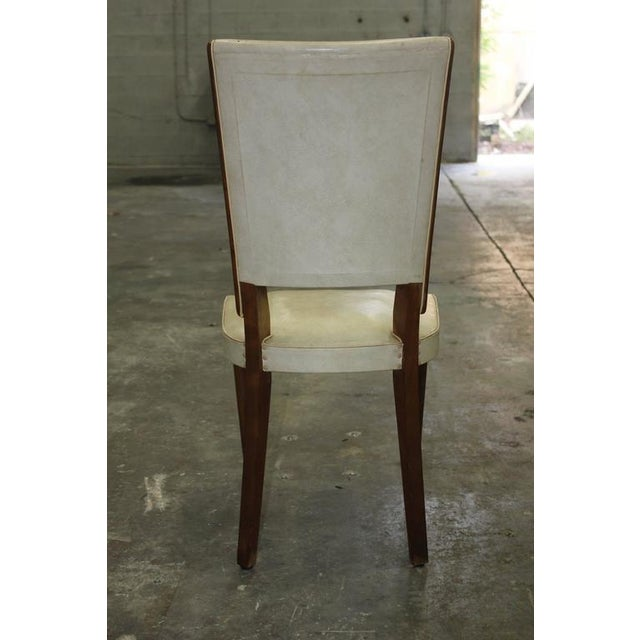 Set of Six French Art Deco Solid Mahogany Dining Chairs, circa 1940s. - Image 6 of 10