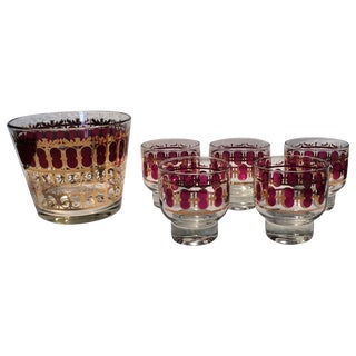 Mid-Century Culver Cranberry Footed Glasses