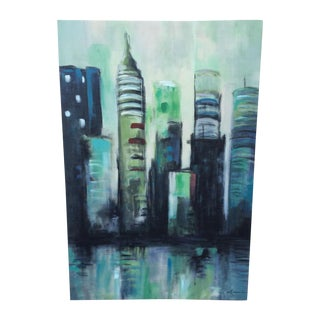 Twilight Cityscape on Canvas