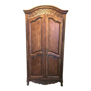 Carved Oak Armoire Wardrobe with Drawers