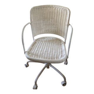 White Wicker Rolling Desk Chair