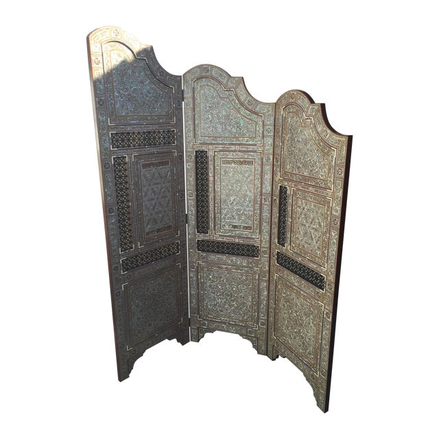 Egyptian Inlaid Mother of Pearl Trifold Screen - Image 1 of 6