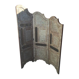 Egyptian Inlaid Mother of Pearl Trifold Screen