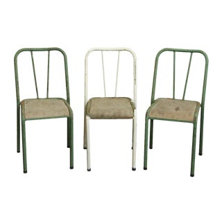 Reclaimed Imported Green & White Steel School Chairs - Set of 3