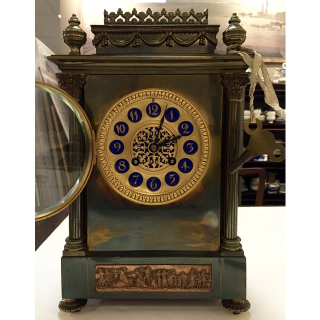 19th Century French Gilt Brass 8 Day Mantel Clock - Image 4 of 6