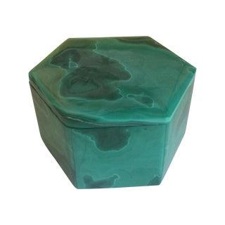 Hexagonal Malachite Box