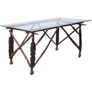 North African Carved Wood Table with Glass Top