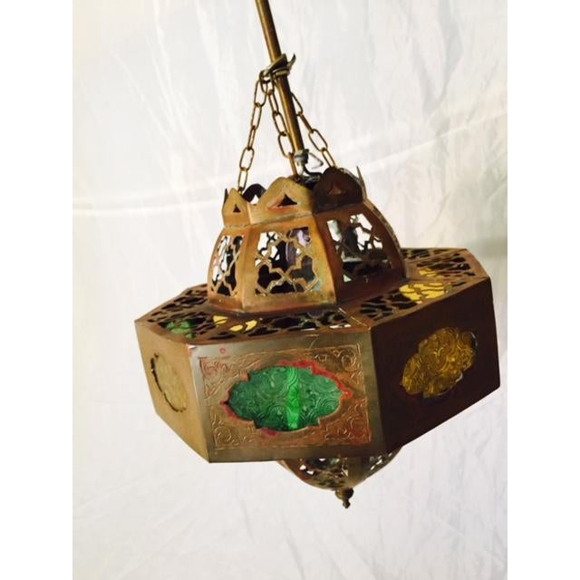Small Moroccan Brass & Glass Chandelier - Image 2 of 7