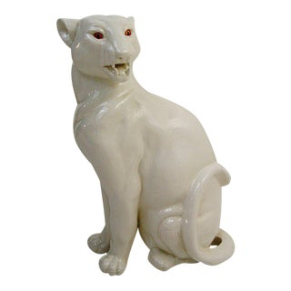 White Ceramic Panther Cat Sculpture