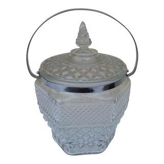 Large Mid-Century Crystal Glass Ice Bucket