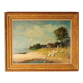 """1920s """"Belmont Lakeshore View"""" Oil Painting by Gari Melchers"""