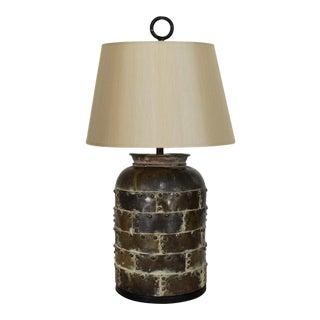 Brutalist Distressed Brass Chapman Lamp