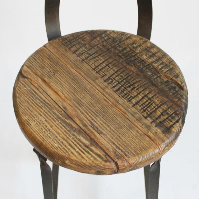 Reclaimed Wood & Iron Bar Stool - Image 3 of 3