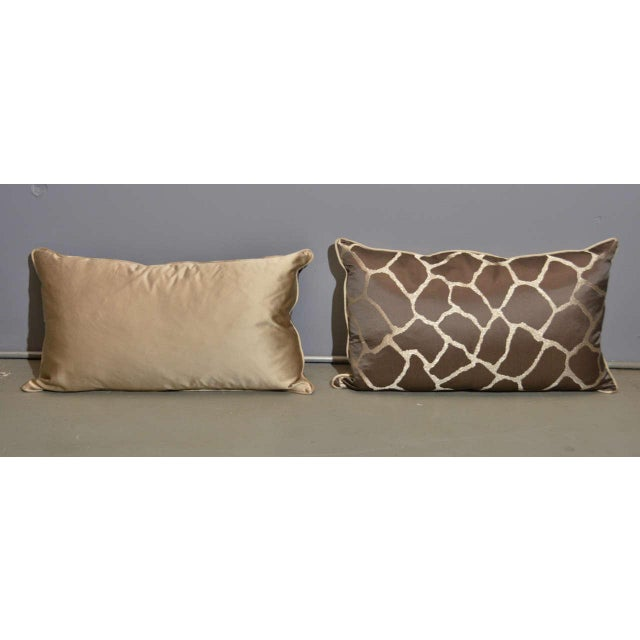 Scalamandre Brown Giraffe Print Pillows - A Pair - Image 2 of 5